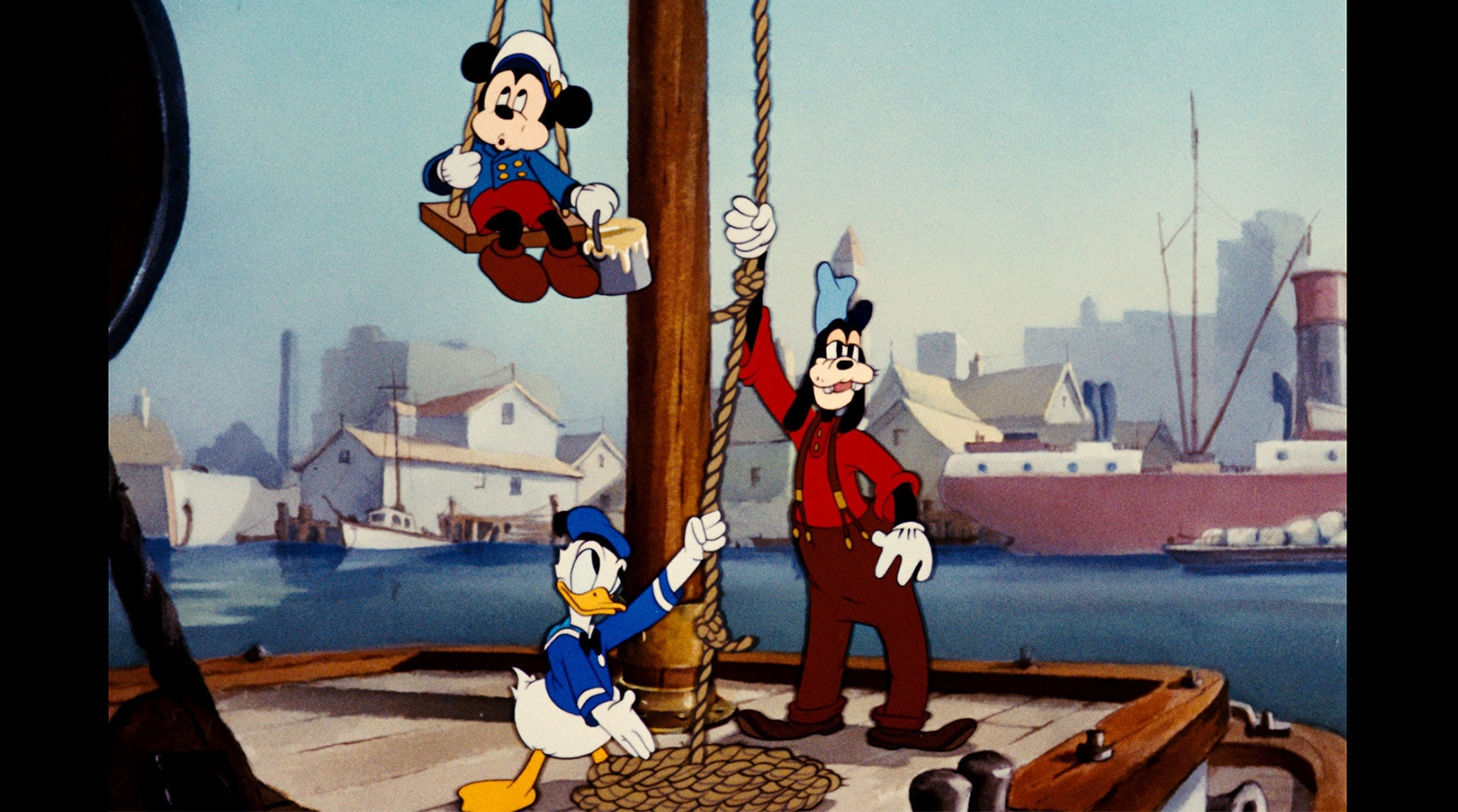 Mickey and his pals hang on the dock.