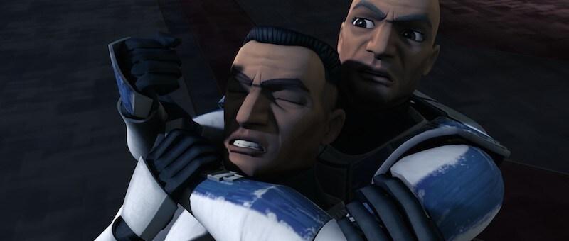 Captain Rex subduing the traitorous Clone trooper 'Slick'