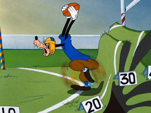 Goofy gets ready to run down the field.