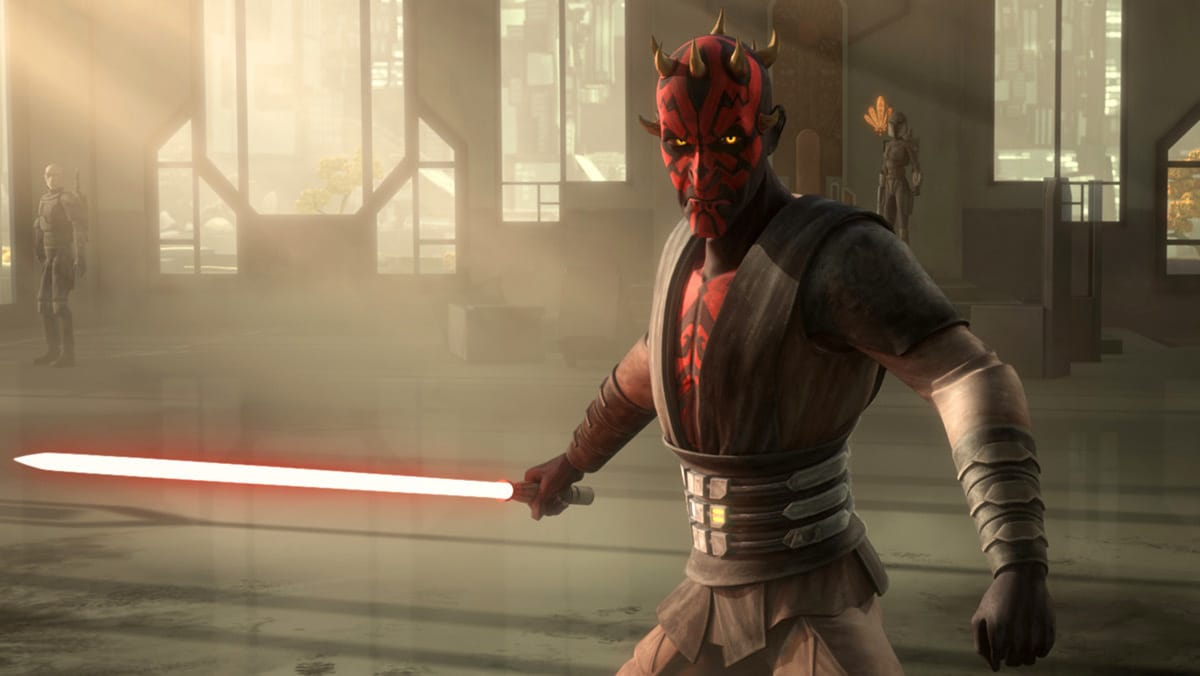 Darth Maul in the throne room of Mandalore