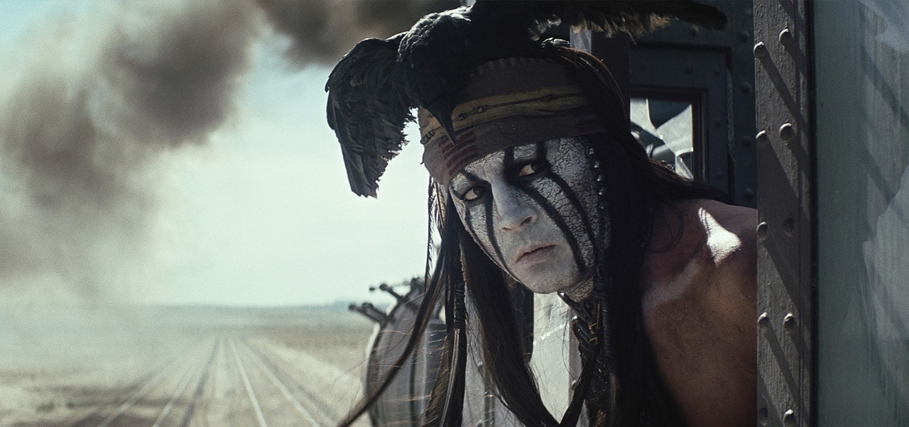 """Tonto on a movie train from the movie """"The Lone Ranger"""""""