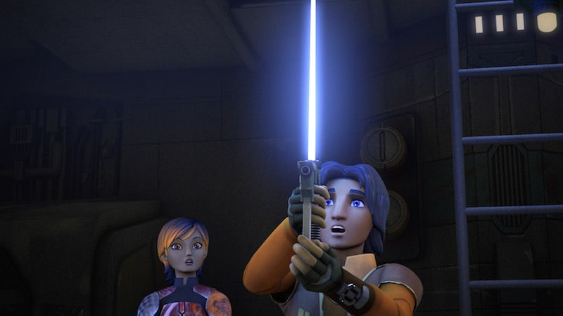 Sabine Wren watching as Ezra Bridger ignites his lightsaber