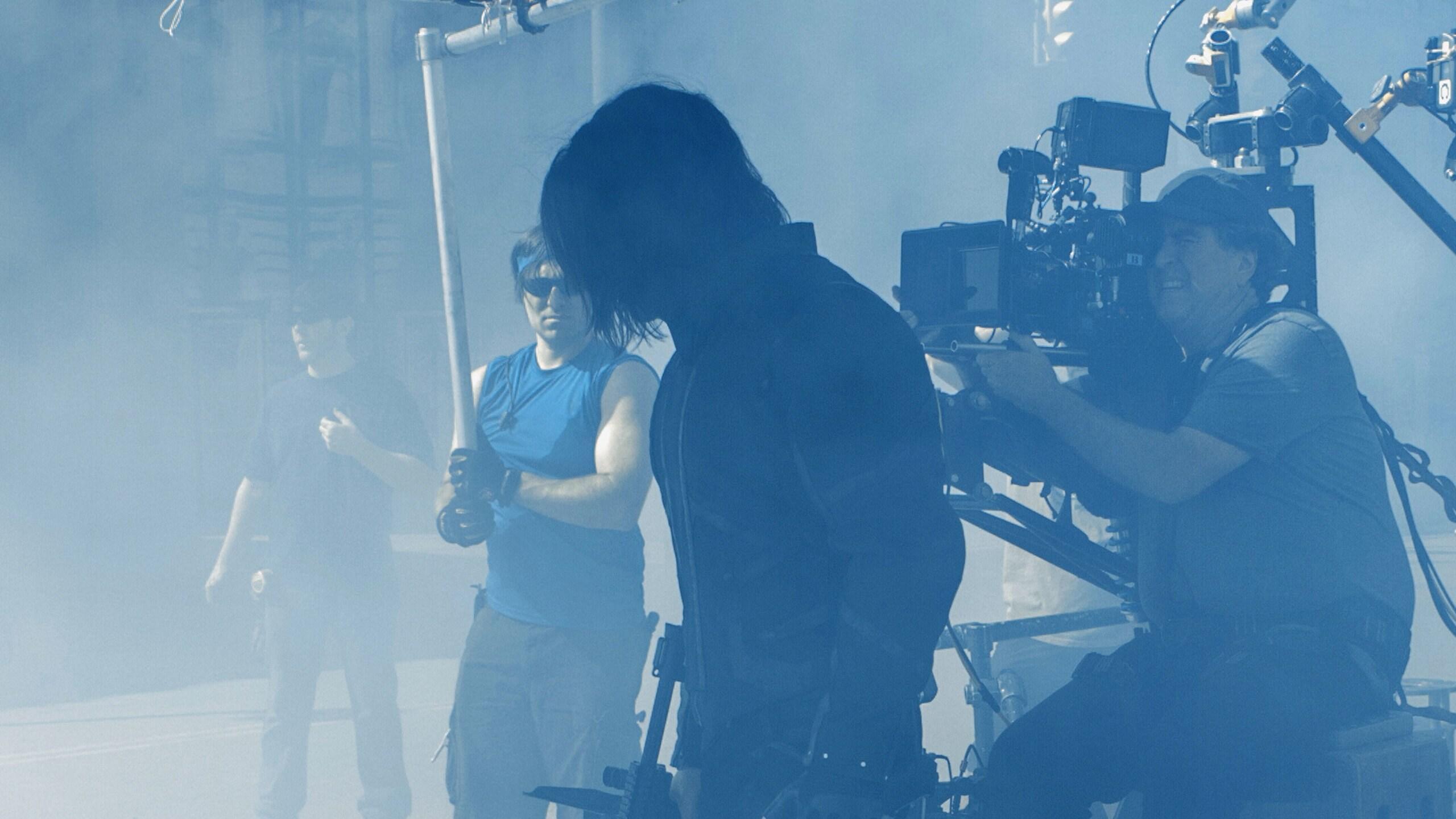 Behind-the-scenes photo of actor Sebastian Stan (Bucky Barnes/Winter Soldier) in Captain America: The Winter Soldier.