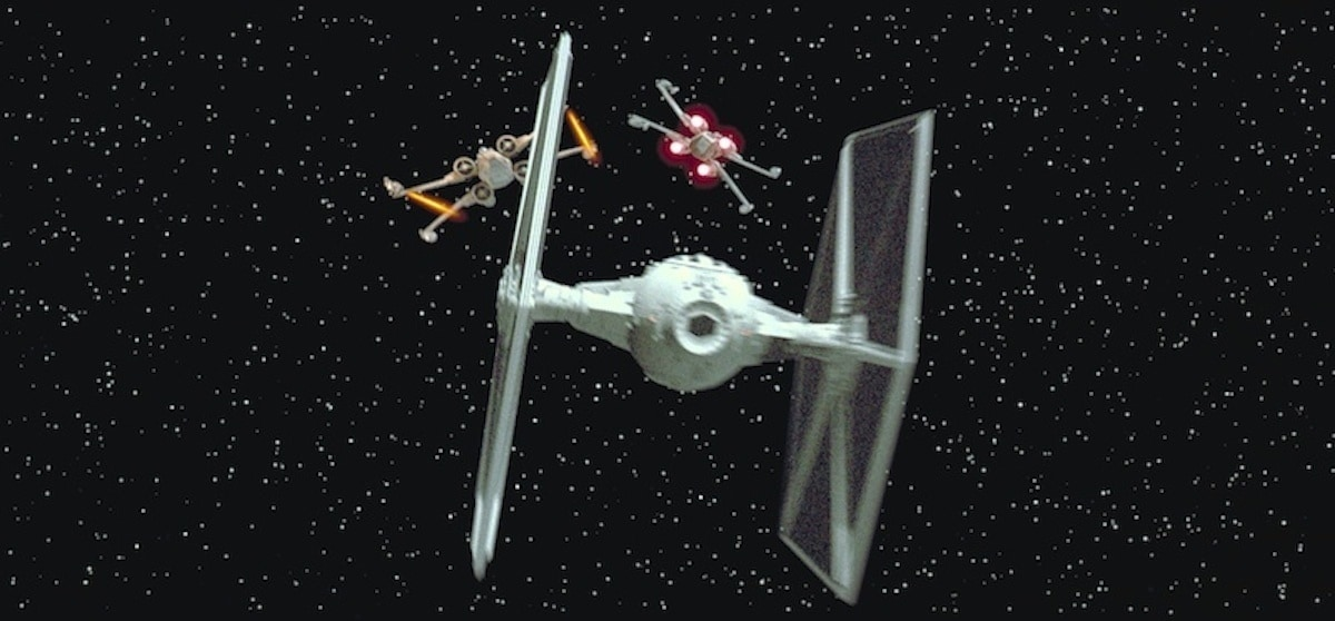 Imperial TIE Fighter fighting Rebel X-Wings during the Battle of Yavin
