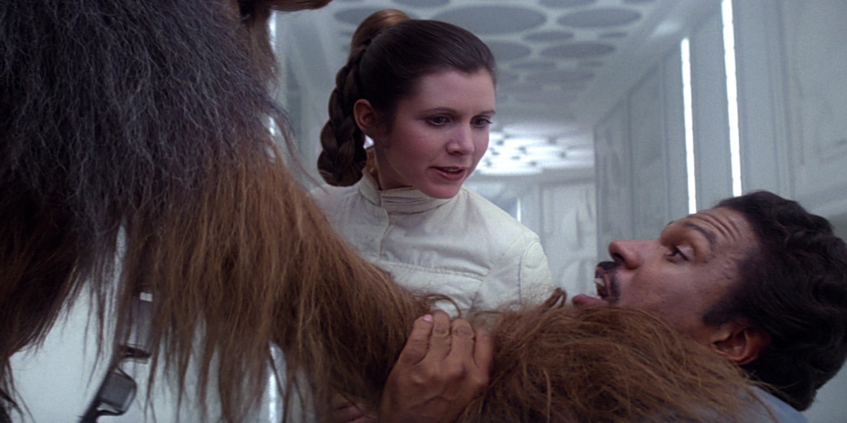 Leia Organa and Chewbacca interrogating Lando Calrissian on Bespin