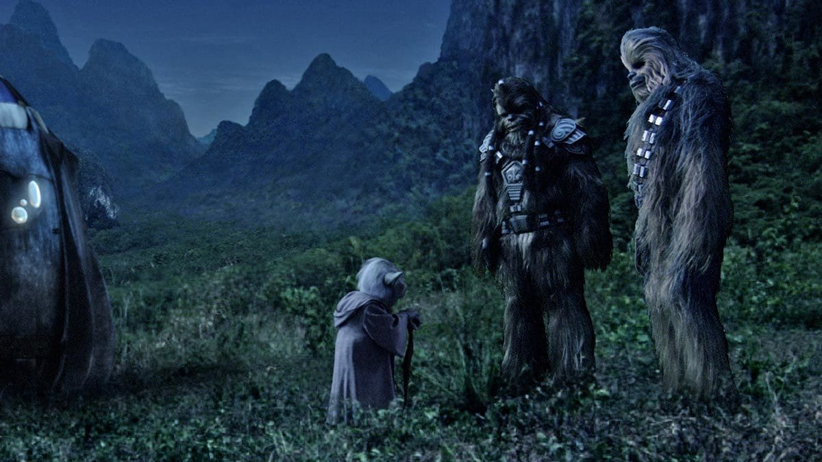 Chewbacca and Tarfful with Yoda on Kashyyyk