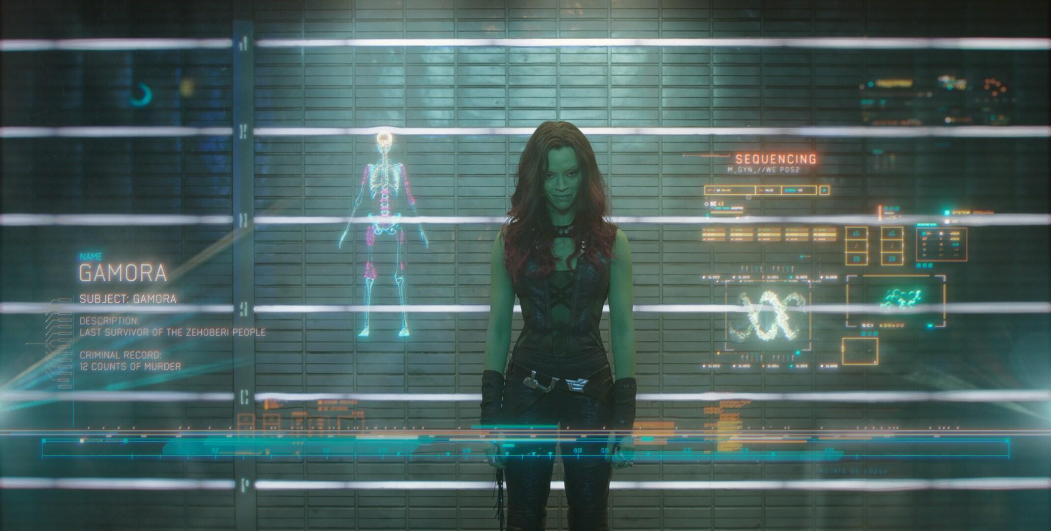 Zoe Saldana as Gamora in the movie Guardians of the Galaxy