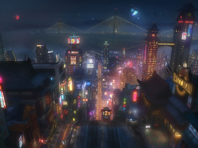 """Concept art of the city of San Fransokyo for the movie """"Big Hero 6"""""""