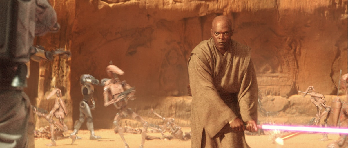 Mace Windu fighting Jango Fett during the Battle of Geonosis