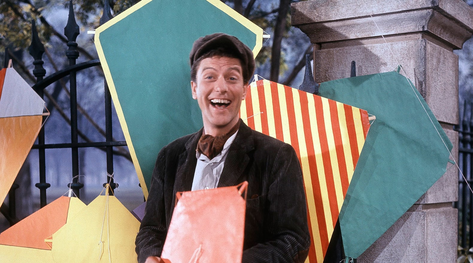 """Dick Van Dyke holding a kite in """"Mary Poppins"""""""