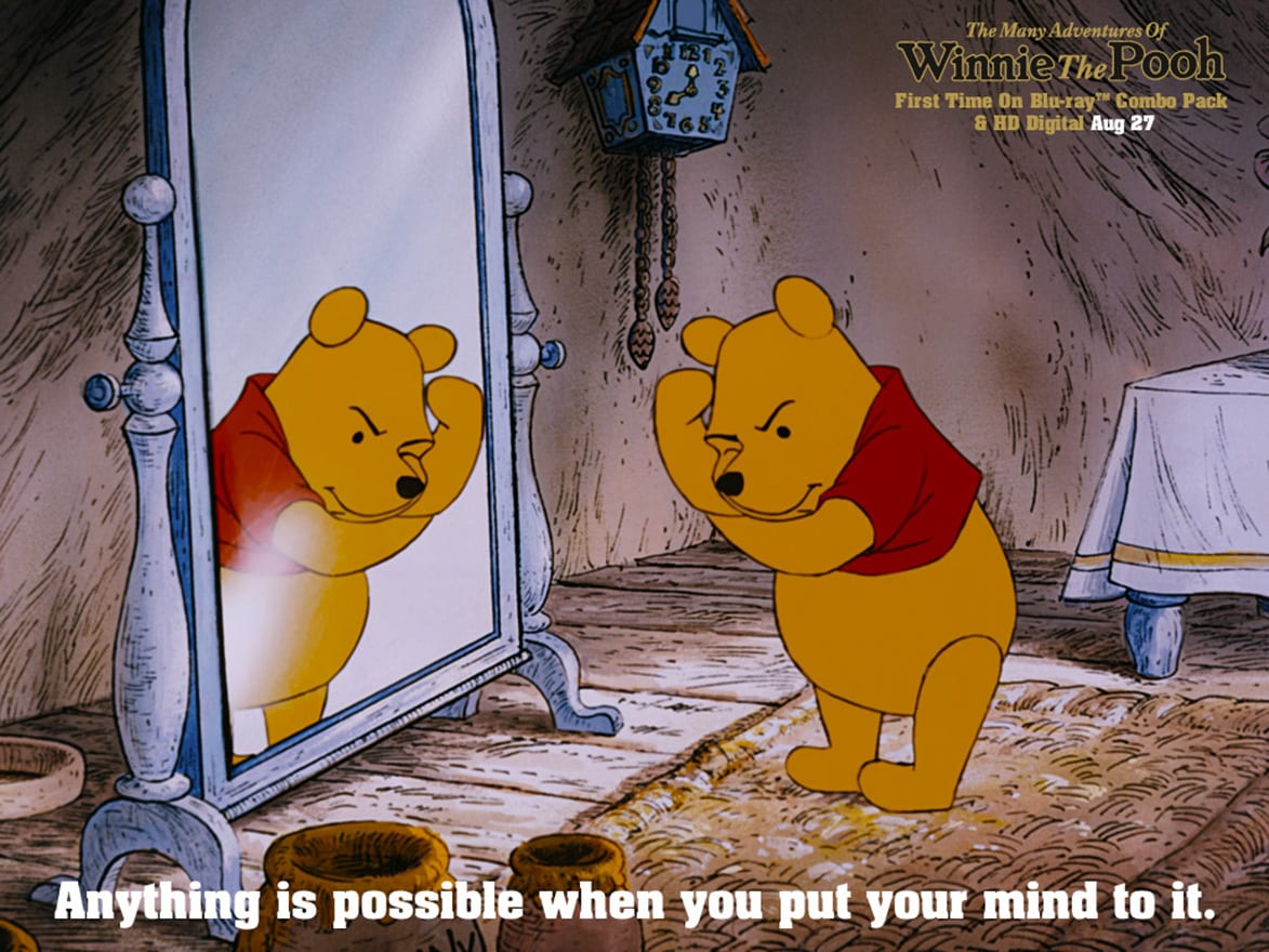 Pooh (voiced by Sterling Holloway) thinking while looking in the mirror in the movie The Many Adventures Of Winnie The Pooh