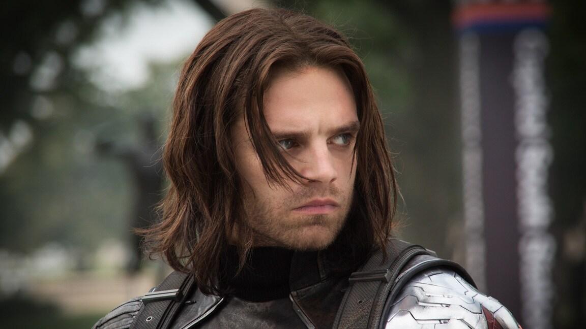 Actor Sebastian Stan (Bucky Barnes/Winter Soldier) in Captain America: The Winter Soldier.