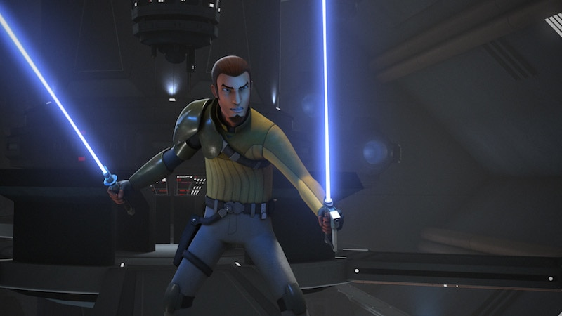 Kanan Jarrus wielding Ezra's lightsaber alongside his own
