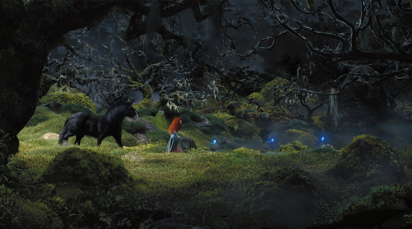 Always curious Merida lets the wisps guide her through the forest.