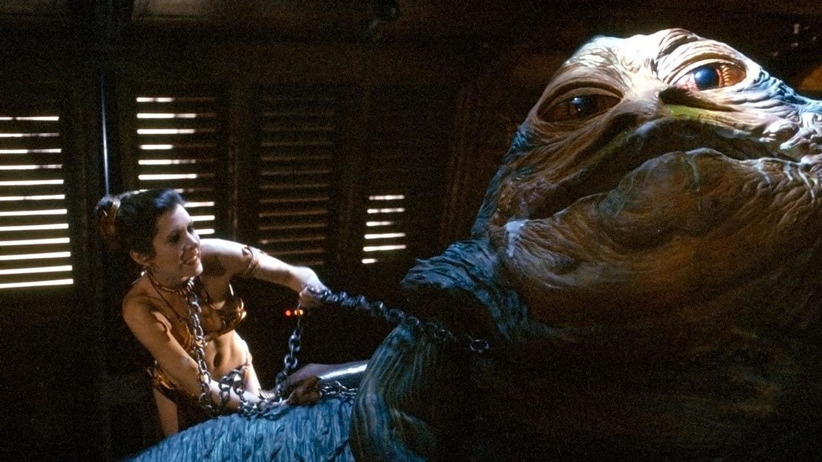 Princess Leia fighting Jabba the Hut