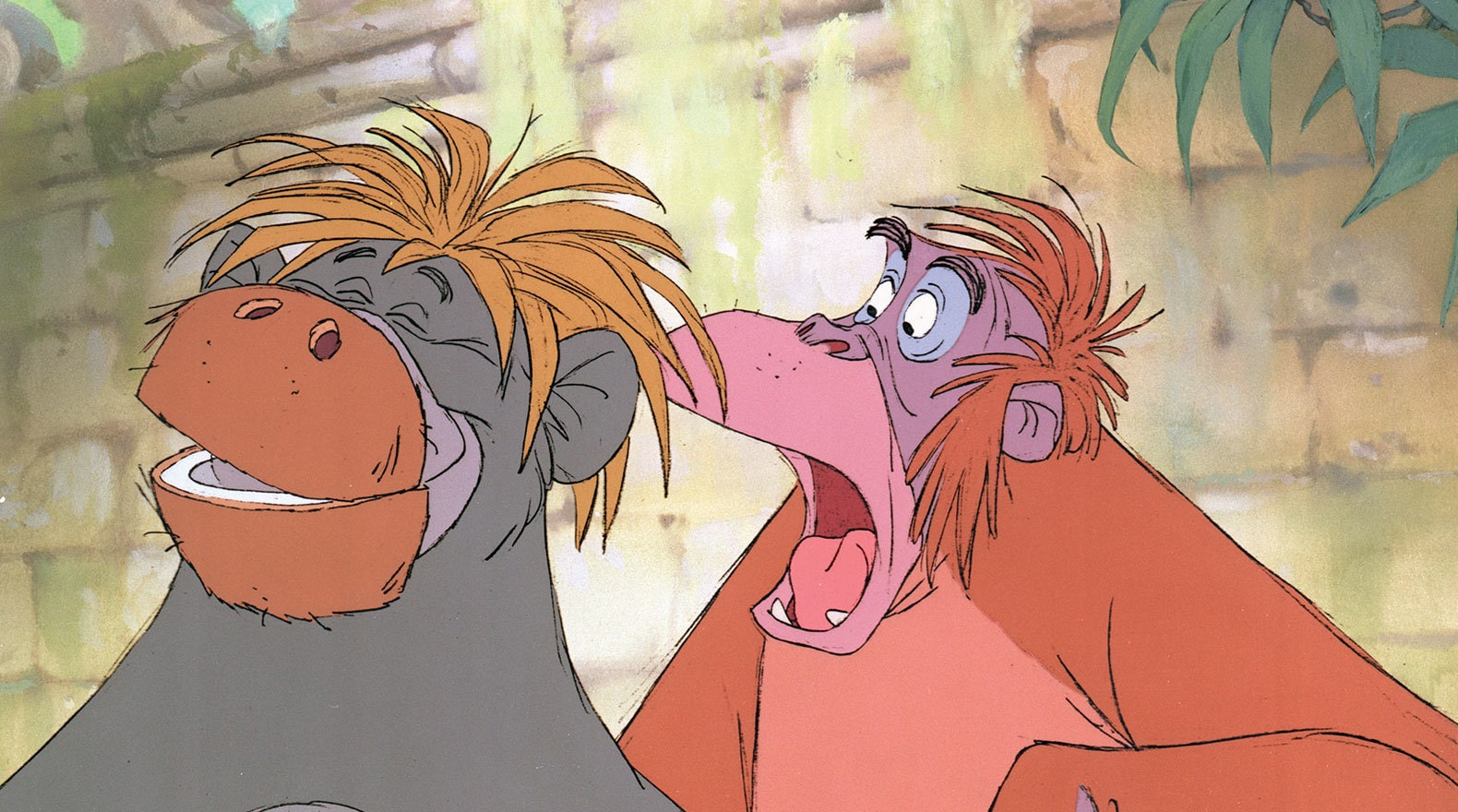 Baloo's cover is blown when his disguise comes apart. Baloo (voice of Phil Harris) and King Louie (voice of Louis Prima) from the Disney movie The Jungle Book (1967).