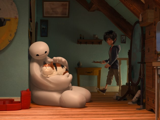 """Baymax (voiced by Scott Adsit) petting cat and Hiro (voiced by Ryan Potter) in the movie """"Big Hero 6"""""""