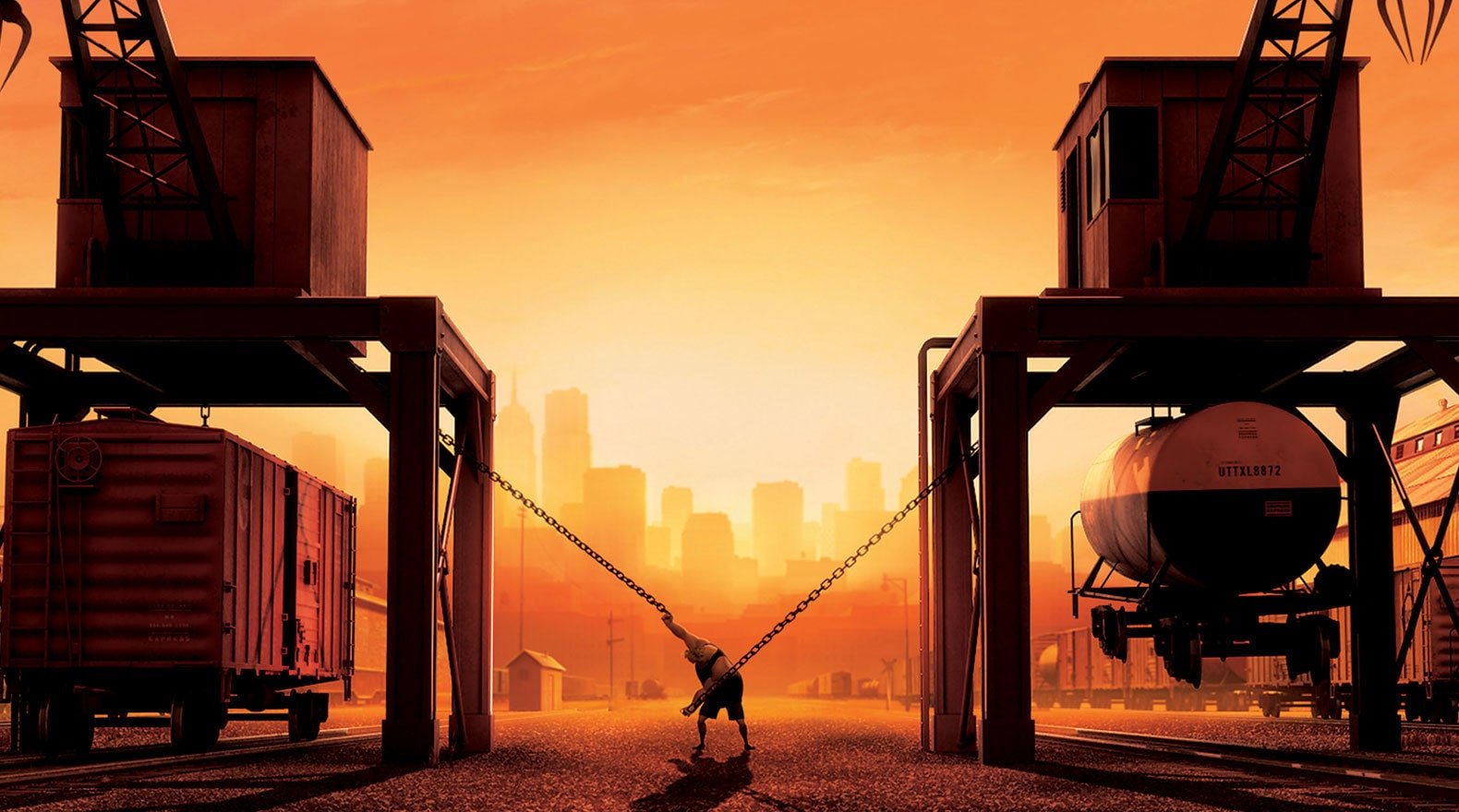 Mr. Incredible's workouts can involve freight trains.
