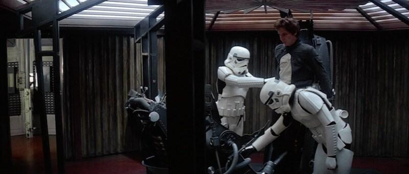 Stormtroopers preparing to interrogate Han Solo