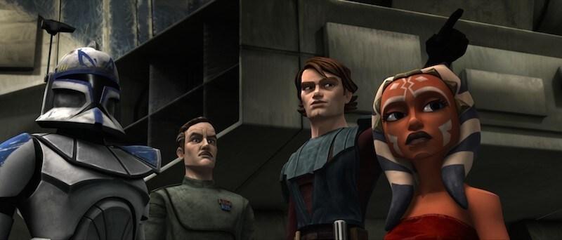 Captain Rex, Wullf Yularen, Anakin Skywalker, and Ahsoka Tano during The Clone Wars