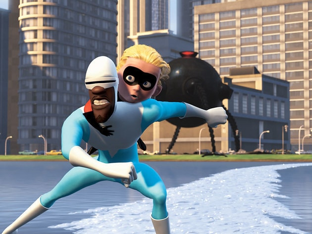 Frozone gives Dash a lift while making it hard for the Omnidroid to follow.
