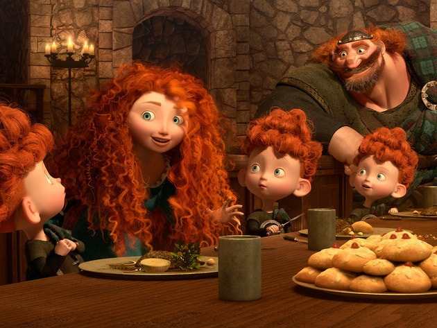 The DunBroch clan shares tales of Mor'du at the dinner table.