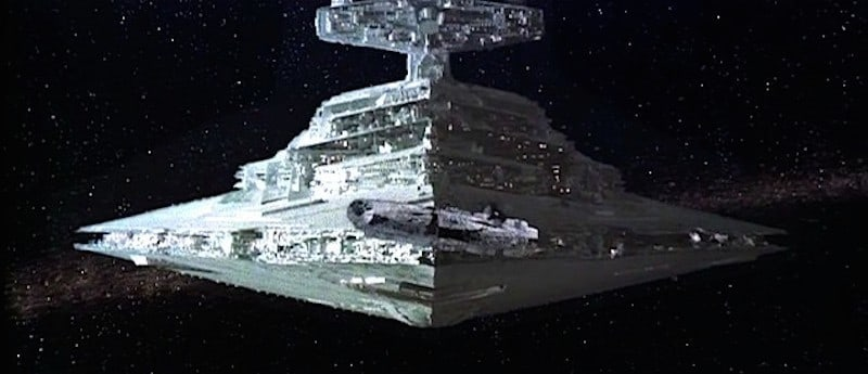 An Imperial Star Destroyer pursuing the Millennium Falcon