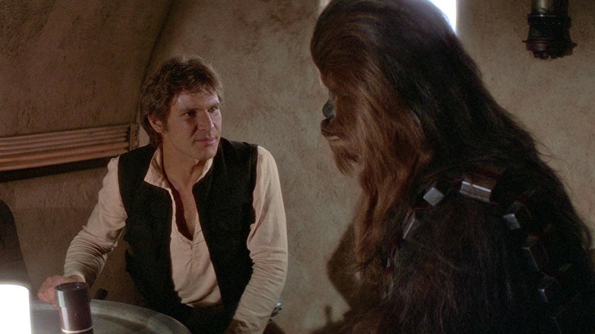 Han Solo and Chewbacca in the Mos Eisley cantina