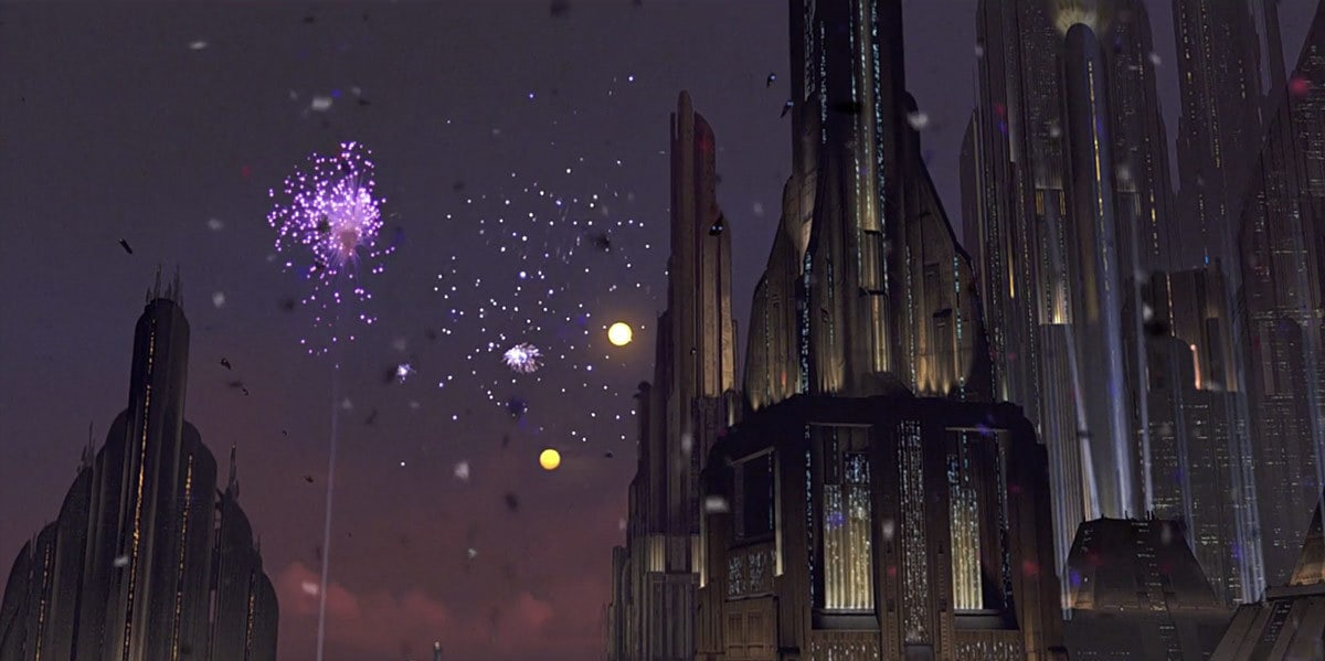 Coruscant celebrating after the demise of the Emperor