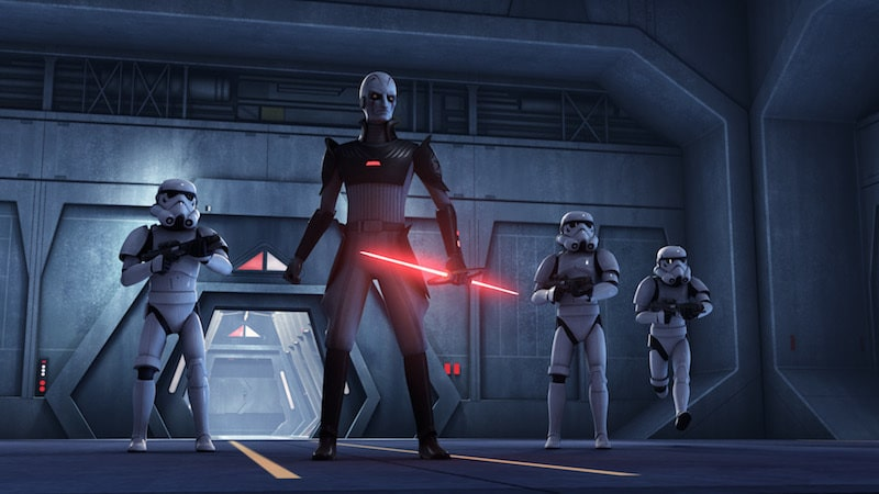The Inquisitor and an entourage of Stormtroopers