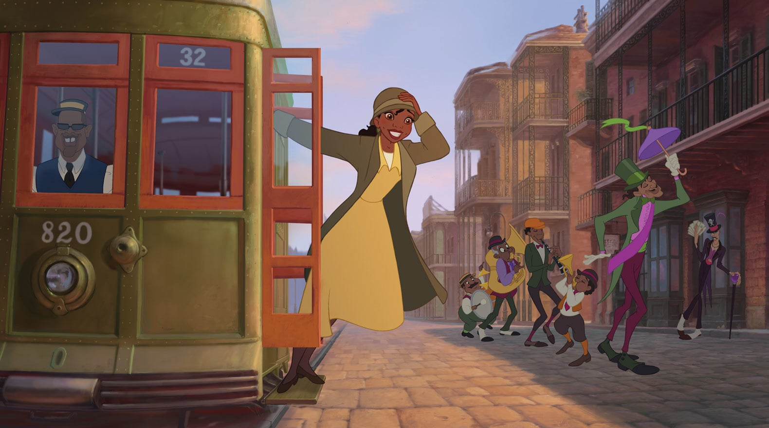 Tiana riding on the side of a trolley