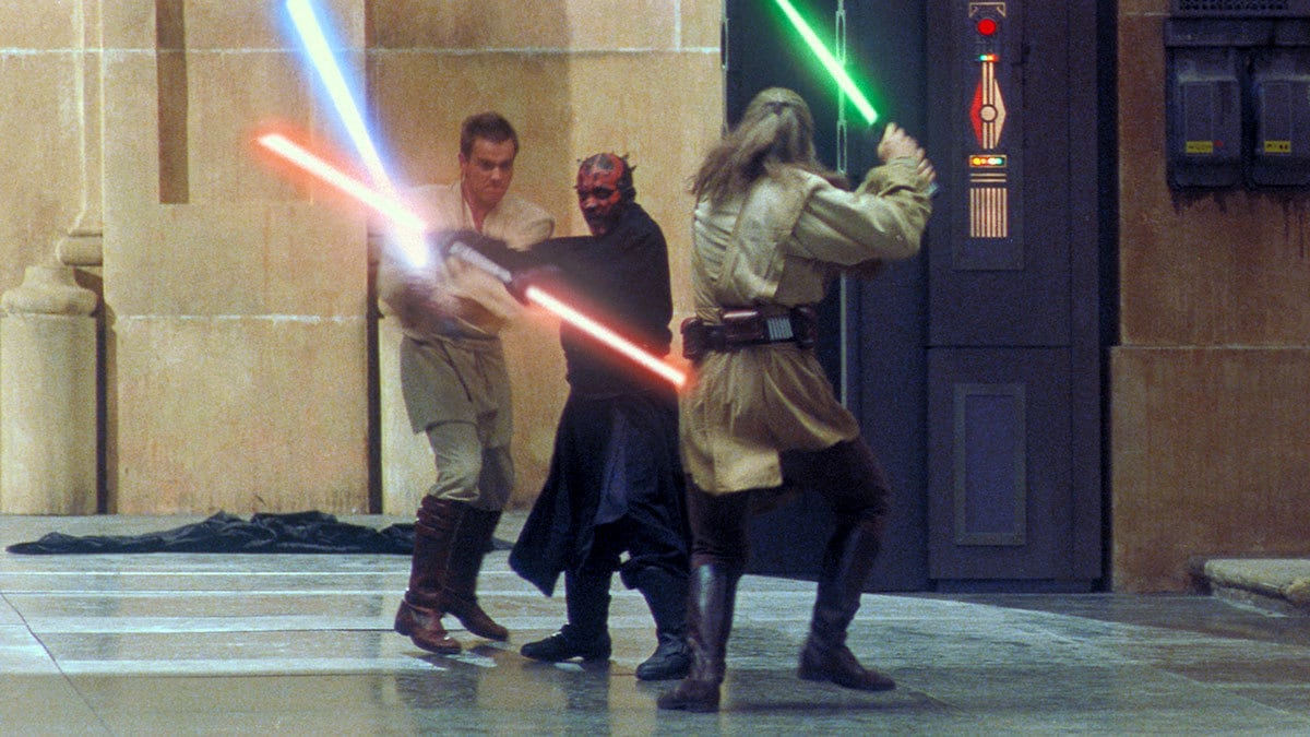 Darth Maul duels Qui-Gon and Obi-Wan Kenobi