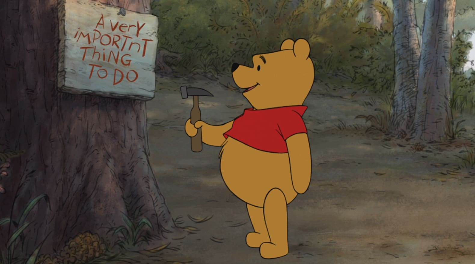 Pooh has a very important thing to do.