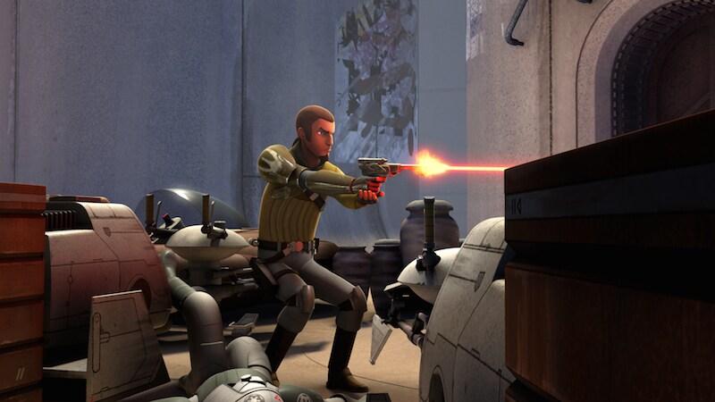 Kanan Jarrus wielding a blaster