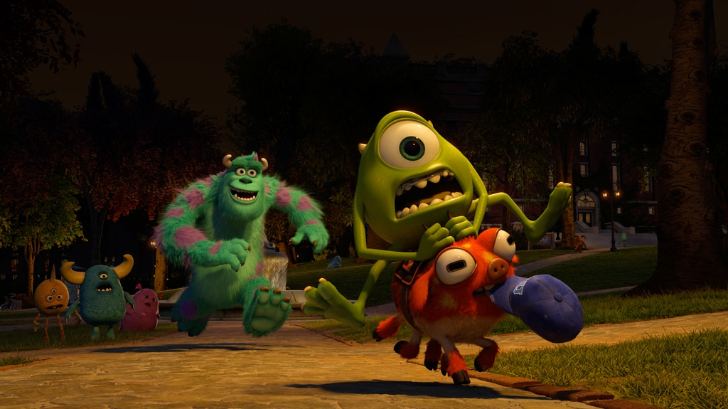 """Mike goes on a crazy ride as Sulley gives chase from close behind. Form the movie """"Monsters University"""""""