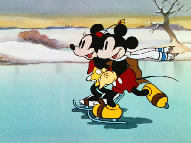 Minnie and Mickey take a spin on the ice.