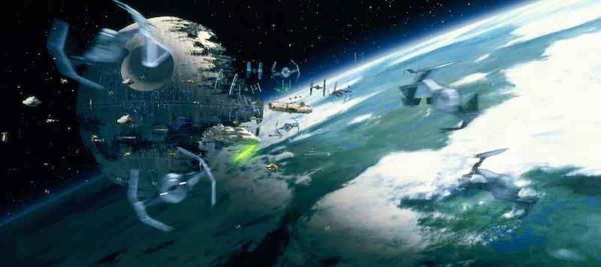 Assorted TIE Fighters fighting Rebel ships during the Battle of Endor