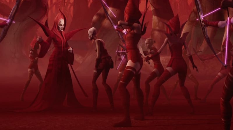 Mother Talzin and the Nightsisters cautiously surrounding Asajj Ventress