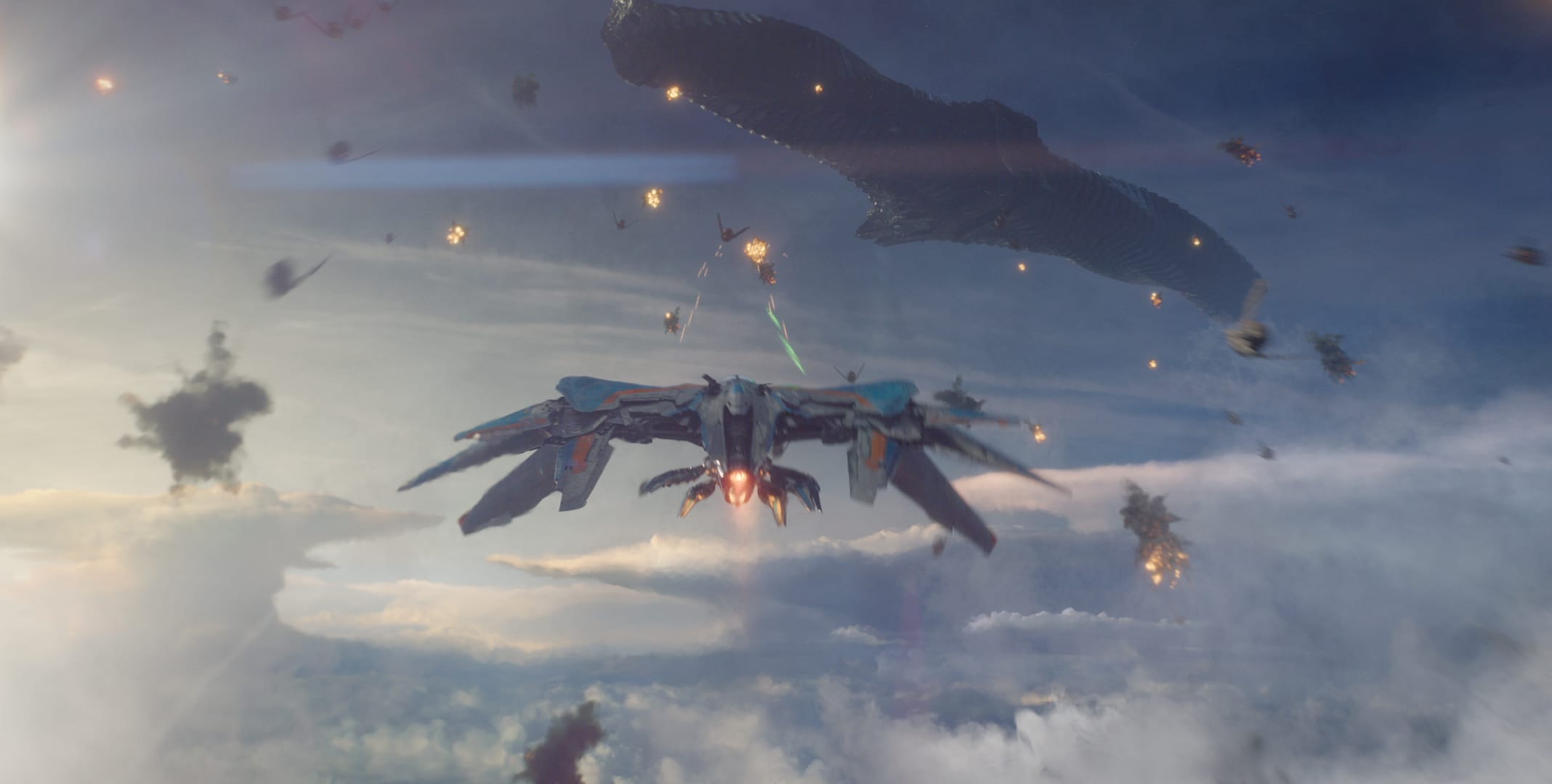 Space ships attacking Ronan's Mothership in the movie Guardians of the Galaxy