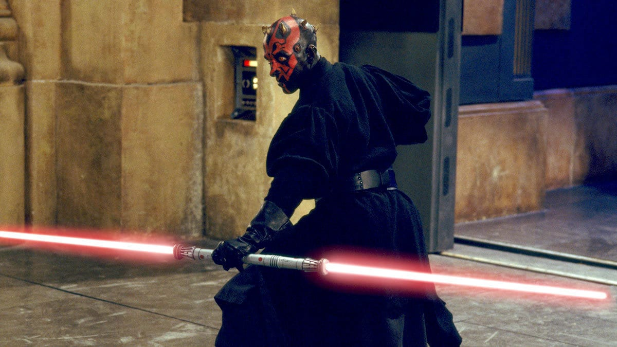 Darth Maul wielding a double-bladed lightsaber