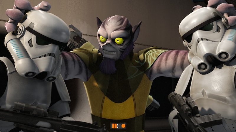 Zeb Orrelios fighting two Stormtroopers