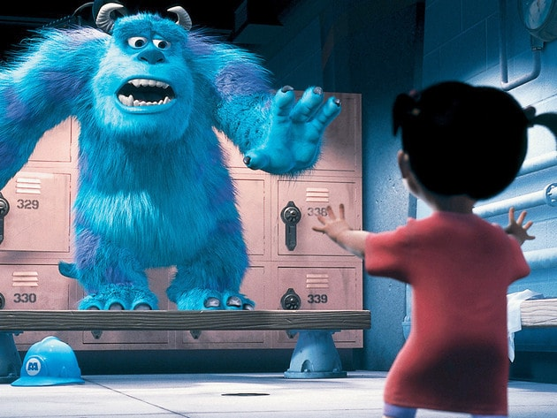 The first time Sulley meets Boo, he's a bit more afraid of her than she is of him.