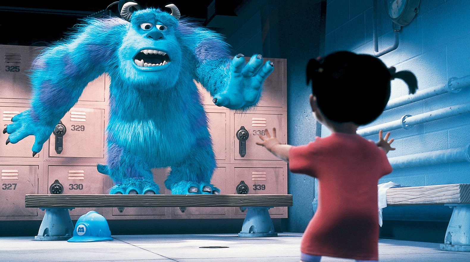 John Goodman as Sulley afraid and standing on a locker room bench when he first meets Boo in Monsters, Inc.