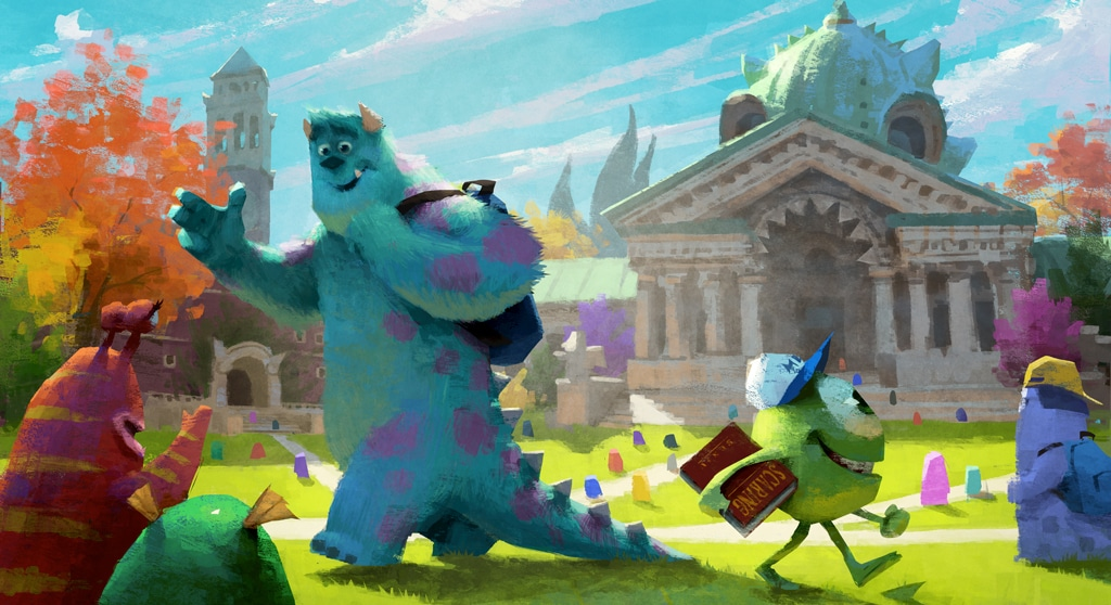 Mike and Sulley walk through the Monster University quad.