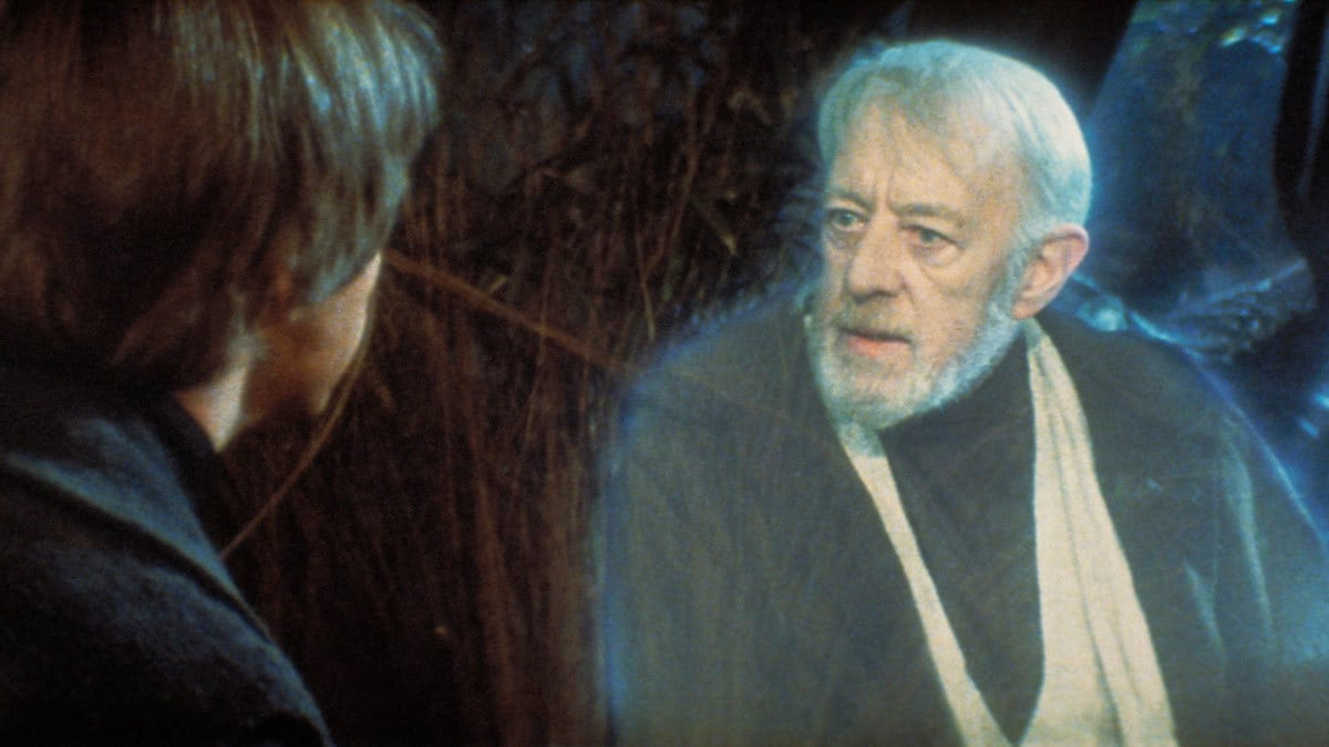 Obi-Wan Kenobi appearing to Luke Skywalker as a Force ghost on Dagobah