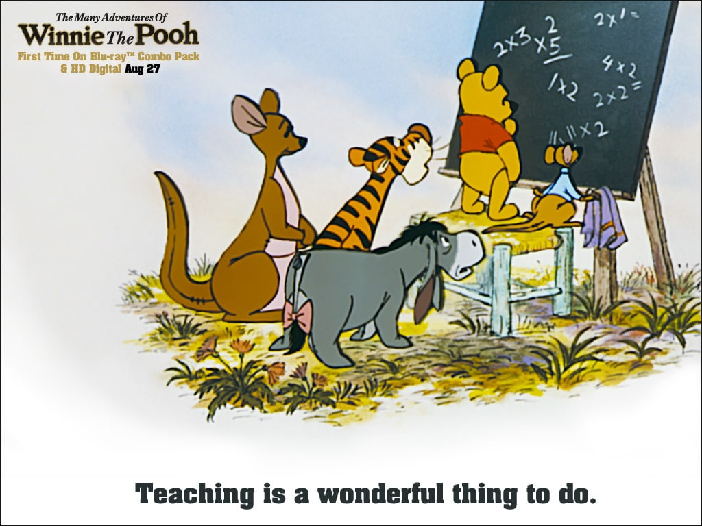 Pooh (voiced by Sterling Holloway), Roo (voiced by Clint Howard), Eeyore (voiced by Ralph Wright), Tigger (voiced by Paul Winchell), and Kanga (voiced by Barbara Leddy) solving math problems on a chalkboard in the movie The Many Adventures Of Winnie The Pooh