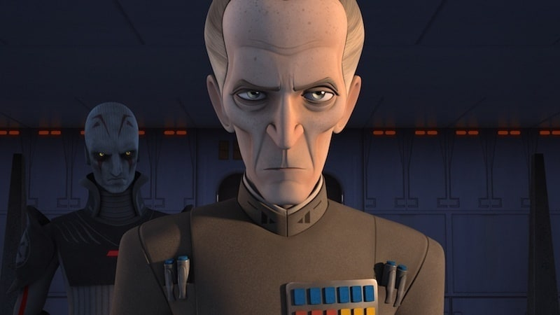 Grand Moff Tarkin standing with the Grand Inquisitor