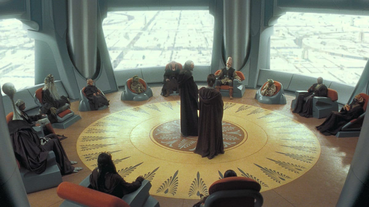 The Jedi Council convening on Coruscant