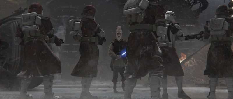 Ki-Adi-Mundi attempting to defend himself against his Clone Troopers' betrayal