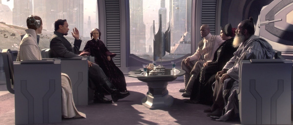 Senators Amidala, Organa, Mothma, and others gathering privately